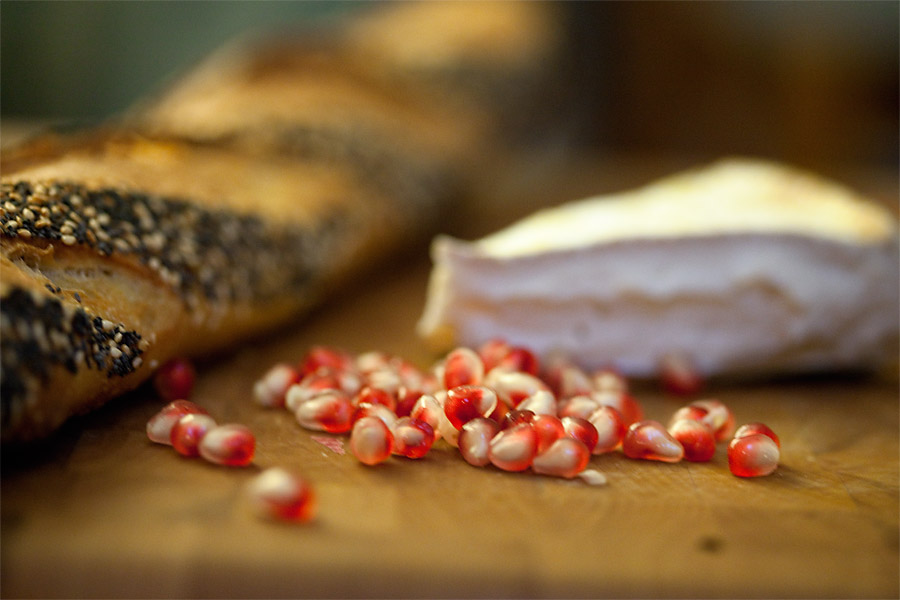 pomegranates and brie