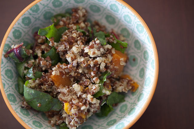 quinoa with sweet potatoes and rainbow chard